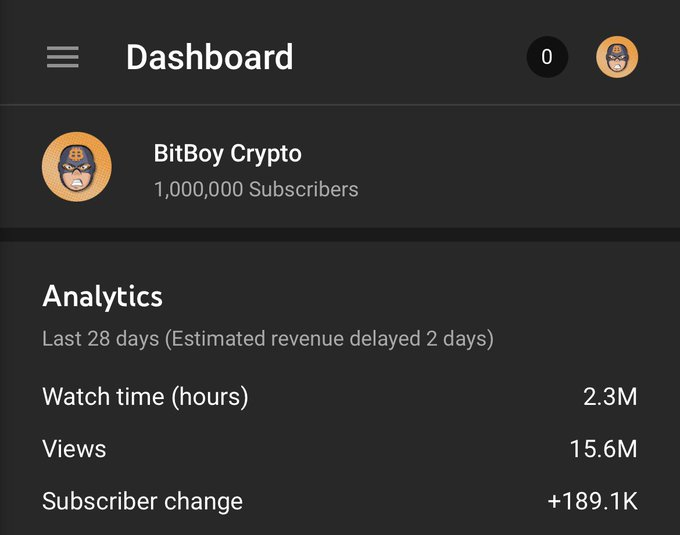 YouTube channel had 1000000 subscribers