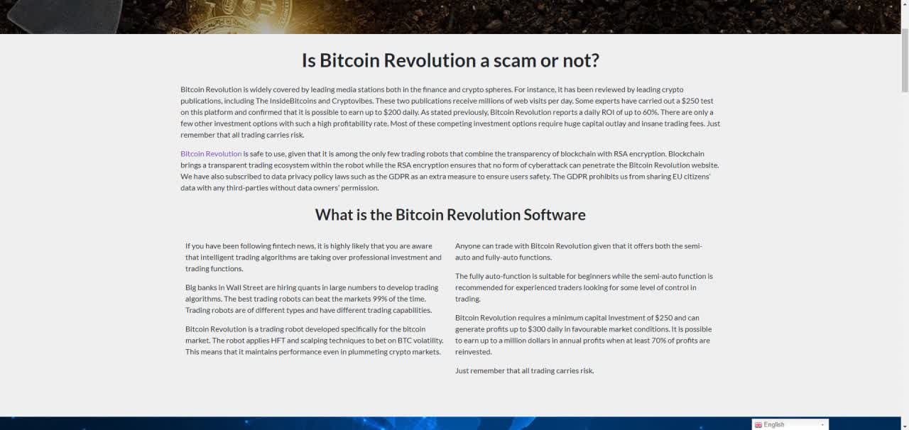 is Bitcoin Revolution a scam?