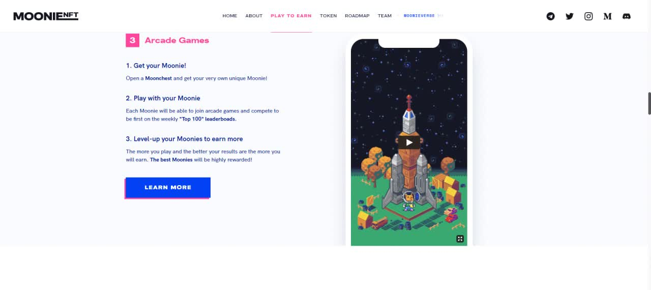 MoonieNFT Arcade Games available on the platform